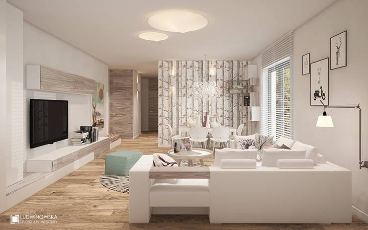 JELENIM TROPEM : styl , w kategorii Salon zaprojektowany przez Ludwinowska Studio Architektury