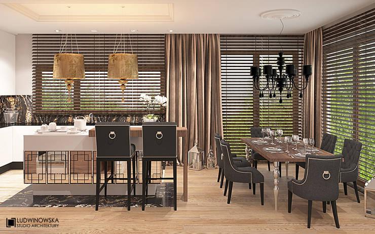 CHARME&CHIC: styl , w kategorii Jadalnia zaprojektowany przez Ludwinowska Studio Architektury