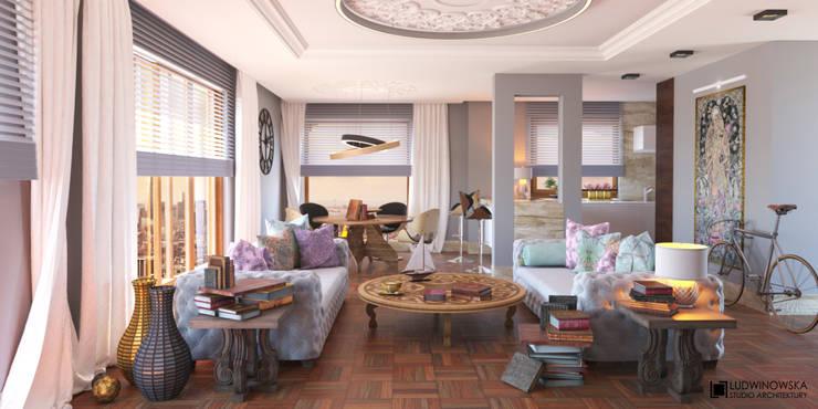 غرفة المعيشة تنفيذ Ludwinowska Studio Architektury