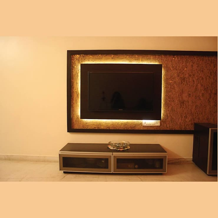 TV Unit Detail....:  Living room by Neha Changwani,