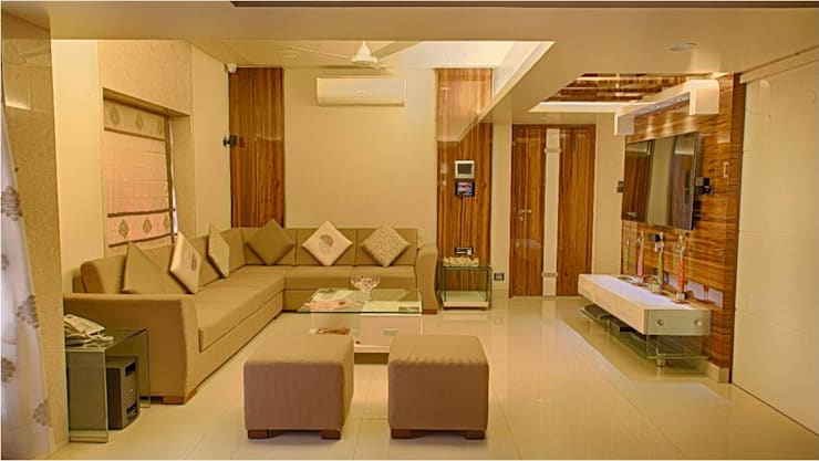 2BHK RESIDENCE: modern Living room by HK ARCHITECTS