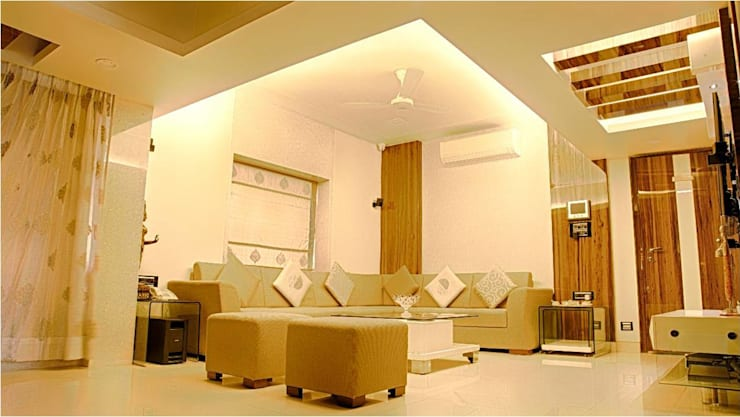 2BHK RESIDENCE:  Living room by HK ARCHITECTS