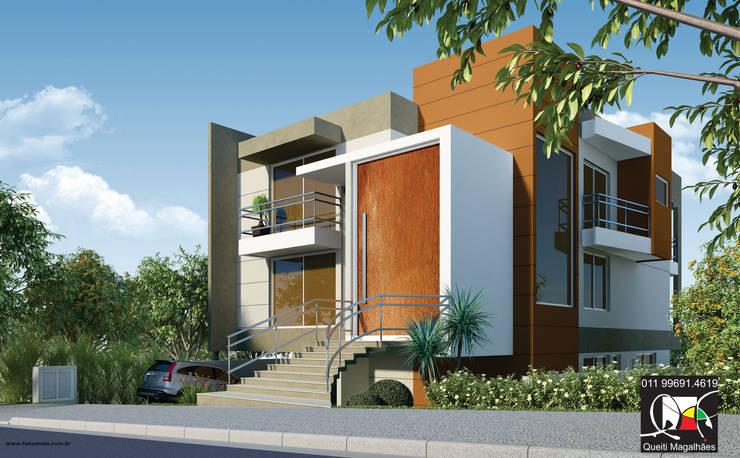 Residência P&K: Casas  por Queiti Magalhães Arquitetura e Decorações,