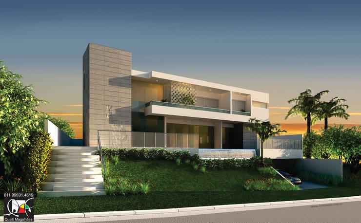 Residência D: Casas  por Queiti Magalhães Arquitetura e Decorações,