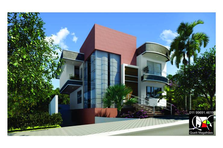 Residência J: Casas  por Queiti Magalhães Arquitetura e Decorações,