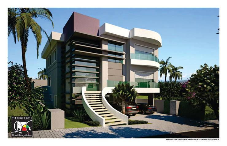 Residência L&S: Casas  por Queiti Magalhães Arquitetura e Decorações,