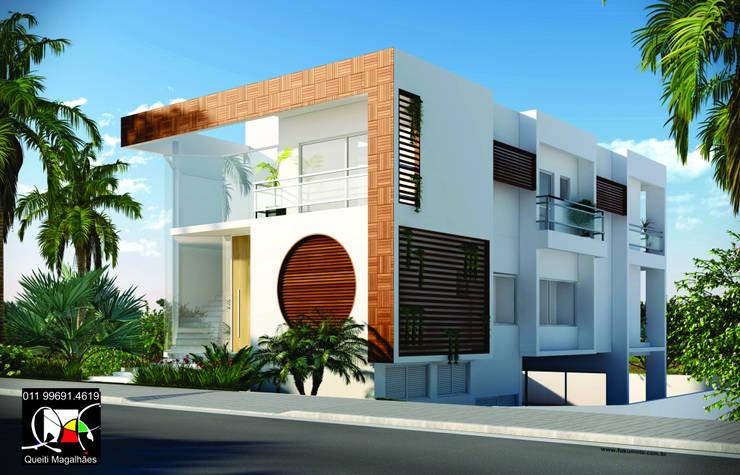 Residência M: Casas  por Queiti Magalhães Arquitetura e Decorações,