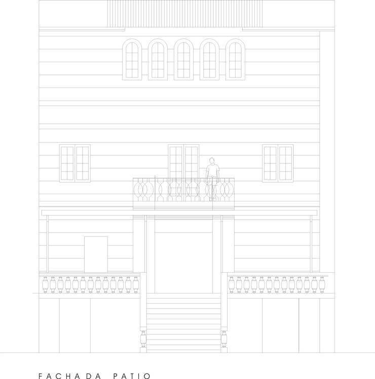 Fachada posterior: Hoteles de estilo  por PICHARA + RIOS arquitectos