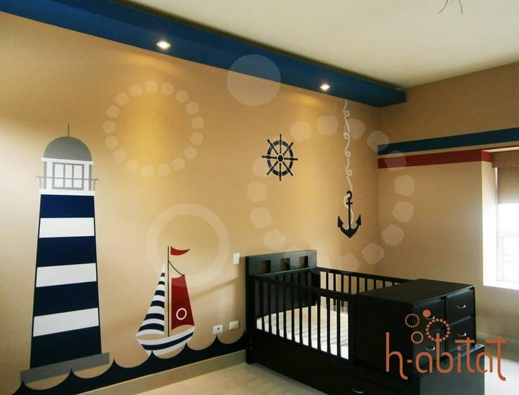 Vinil Decortavio en Cuarto de Bebé: Paredes y pisos de estilo  por H-abitat Diseño & Interiores