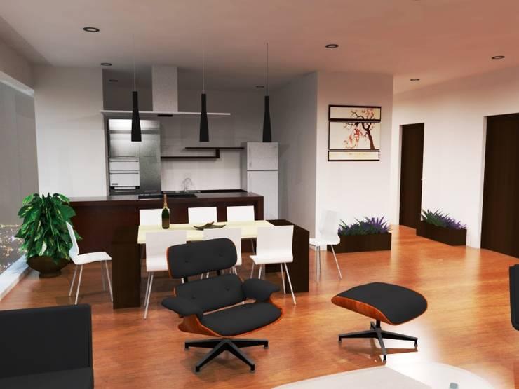 PROYECTO PENTHOUSE: Terrazas de estilo  por JELKH Design Architects s.a.s