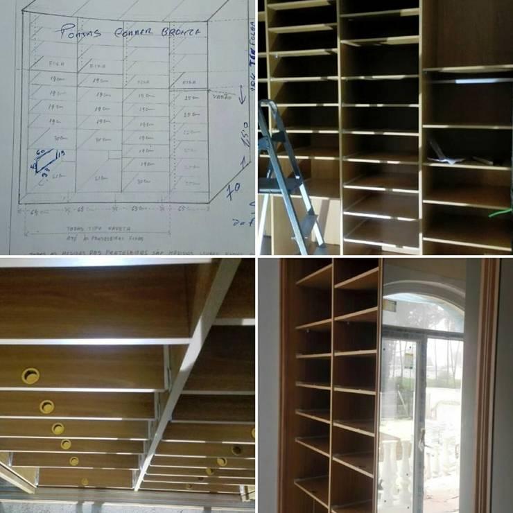 Armário sapateira: Corredor, hall e escadas  por SG Indústria de Mobiliário