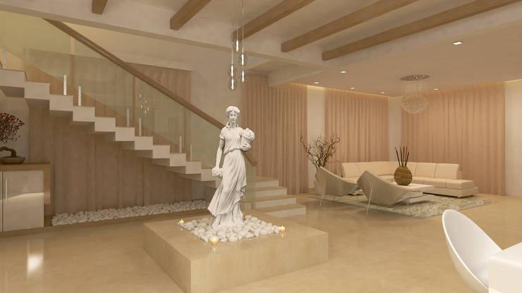 BELLEZEA, NAMBIAR BUILDERS, SARJAPUR, BANGALORE. (www.depanache.in):  Corridor & hallway by De Panache  - Interior Architects