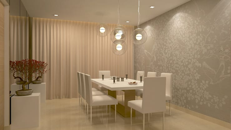 BELLEZEA, NAMBIAR BUILDERS, SARJAPUR, BANGALORE. (www.depanache.in): modern Dining room by De Panache  - Interior Architects