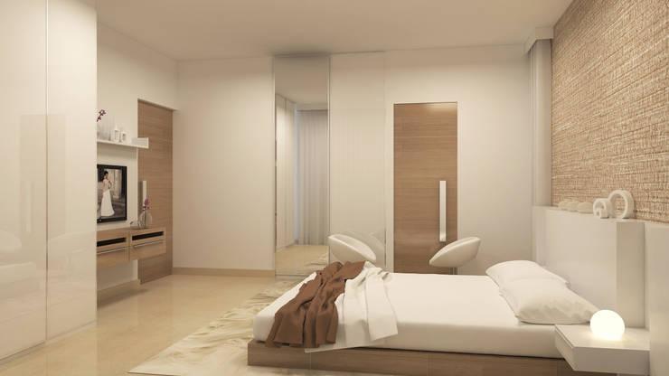 BELLEZEA, NAMBIAR BUILDERS, SARJAPUR, BANGALORE. (www.depanache.in):  Bedroom by De Panache  - Interior Architects