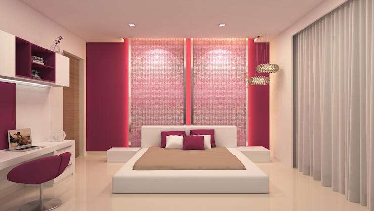 BELLEZEA, NAMBIAR BUILDERS, SARJAPUR, BANGALORE. (www.depanache.in):  Bedroom by De Panache  - Interior Architects