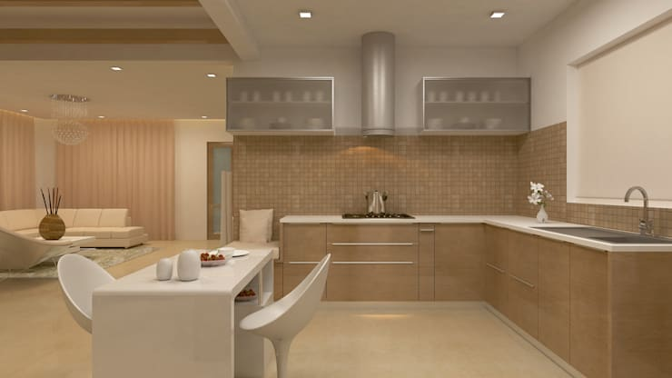 BELLEZEA, NAMBIAR BUILDERS, SARJAPUR, BANGALORE. (www.depanache.in):  Kitchen by De Panache  - Interior Architects