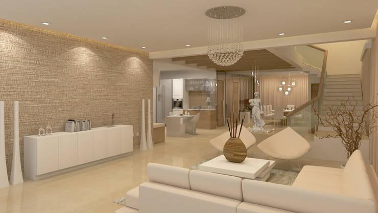 BELLEZEA, NAMBIAR BUILDERS, SARJAPUR, BANGALORE. (www.depanache.in): modern Living room by De Panache  - Interior Architects
