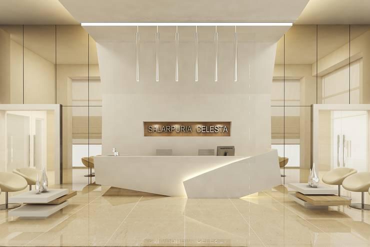 RECEPTION AREA:  Walls by De Panache  - Interior Architects,Modern