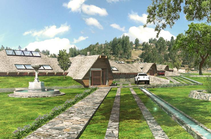 Vista de ingreso al complejo residencial: Casas de estilo rural por ARMarquitectura