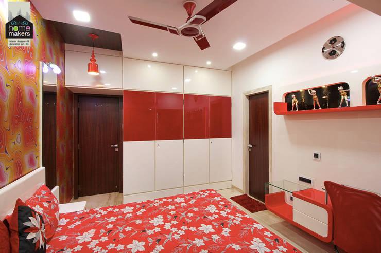 Red Bedroom 2:  Bedroom by home makers interior designers & decorators pvt. ltd.