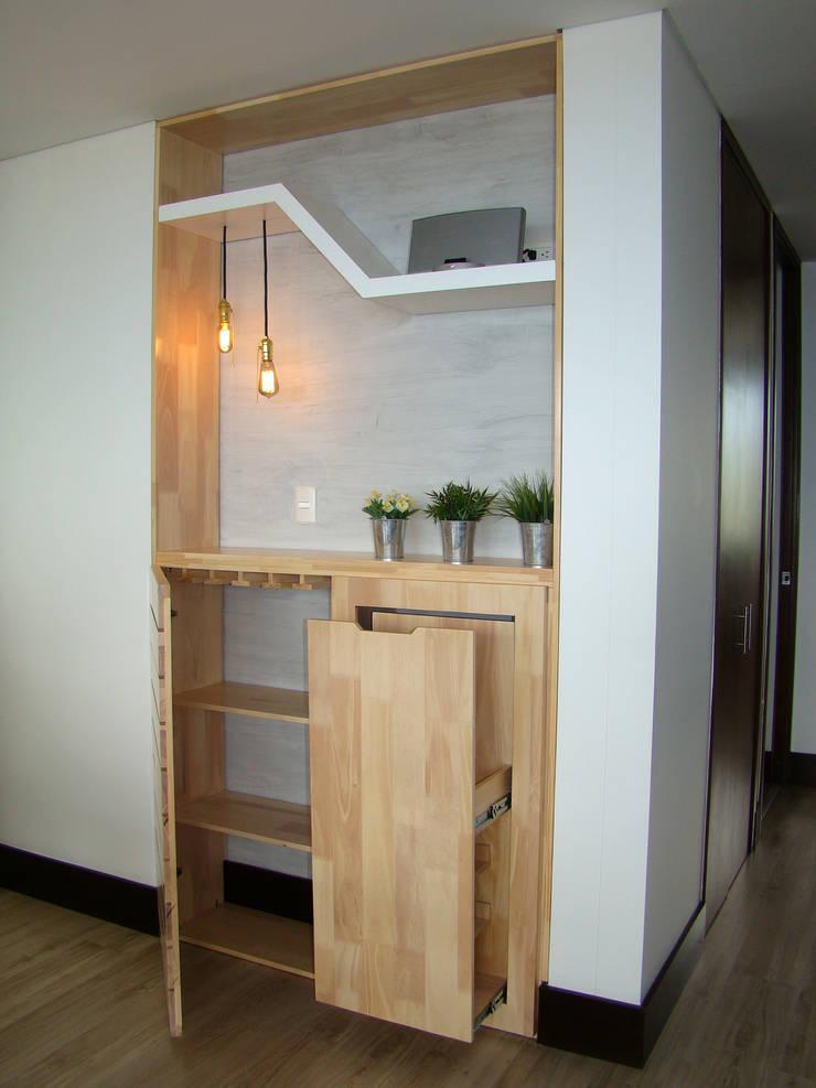 Entrepaños y cajón para almacenamiento de bebidas: Salones de estilo  por ALSE Taller de Arquitectura y Diseño,