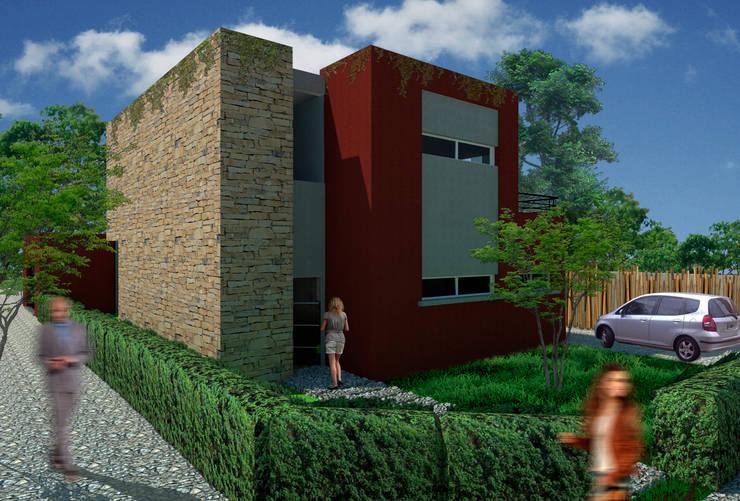 Imagen desde la esquina:  de estilo  por A3 estudio arquitectura,