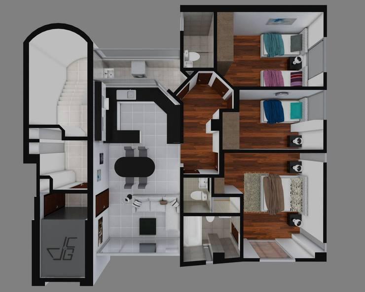 Las Terrazas de San Andres: Dormitorios de estilo  por Arquitectura y diseño 3d- J.C.G,