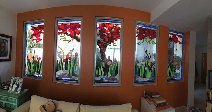 غرفة المعيشة تنفيذ Vitrales Emplomados Vidrio y Plomo