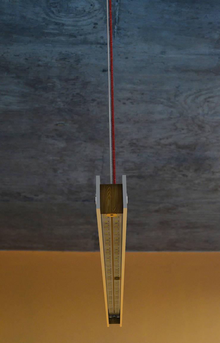 Lineal – Lampara de Colgar LED 4: Livings de estilo  por Estudio Indo