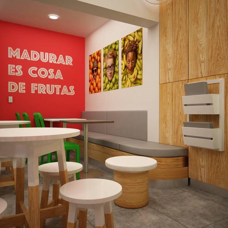 FRUTA LOCA - JUGUERIA CAFE: Restaurantes de estilo  por Kuro Design Studio