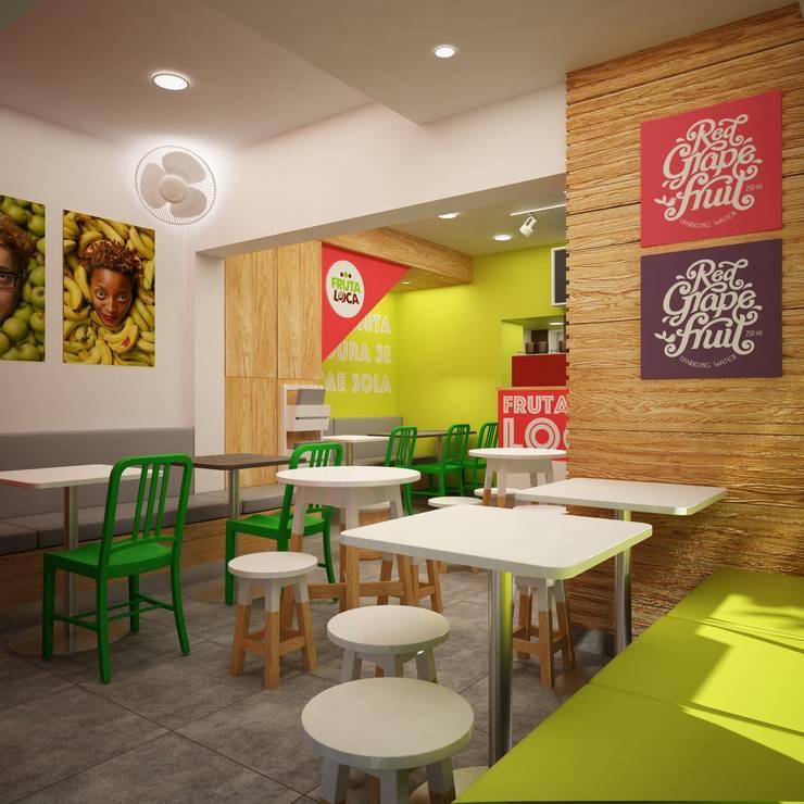 FRUTA LOCA – JUGUERIA CAFE: Locales gastronómicos de estilo  por Kuro Design Studio