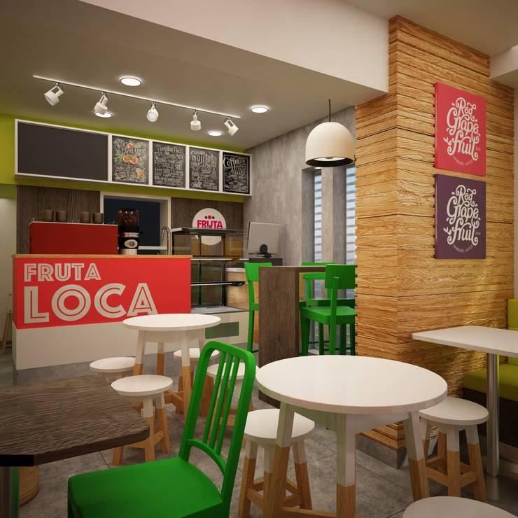 FRUTA LOCA – JUGUERIA CAFE: Restaurantes de estilo  por Kuro Design Studio
