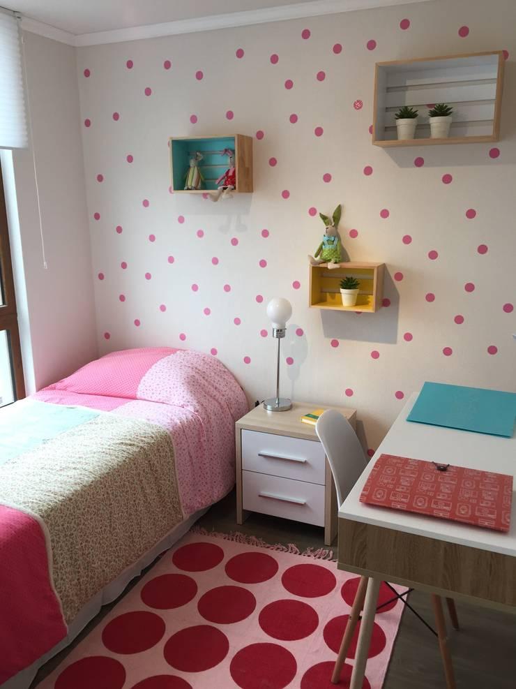Dormitorio 3: niña: Habitaciones infantiles de estilo  por A+ i Arquitectura & Interiorismo