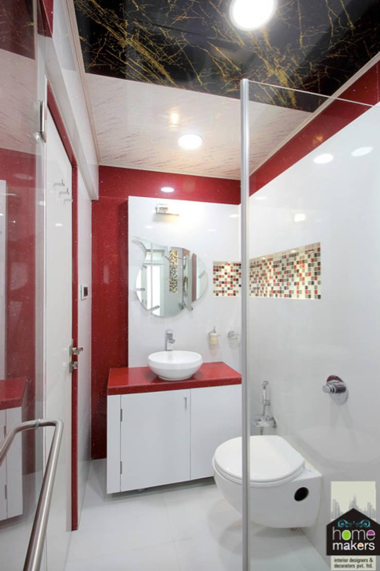 Red Washroom:  Bathroom by home makers interior designers & decorators pvt. ltd.