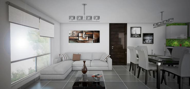 Proyecto en San Andrés, Trujillo: Livings de estilo  por Arquitectura y diseño 3d- J.C.G