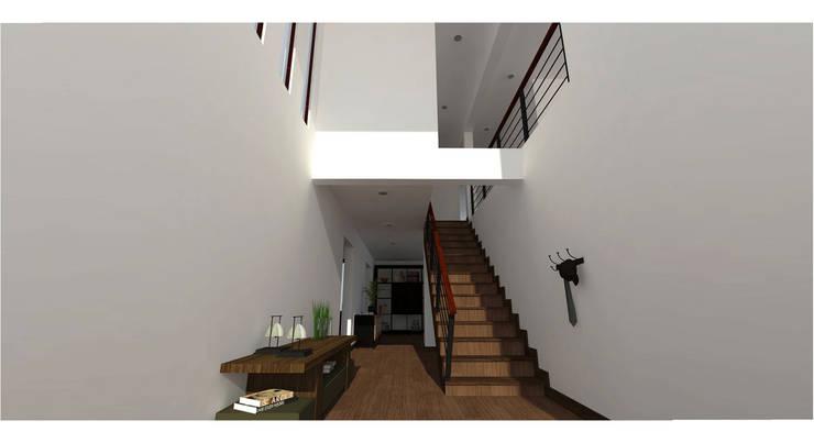 Casa Gama: Pasillos y hall de entrada de estilo  por Vibra Arquitectura