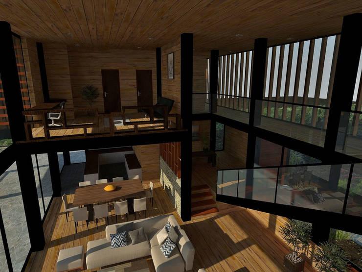 Casa Los Pinos: Pasillos y hall de entrada de estilo  por Vibra Arquitectura