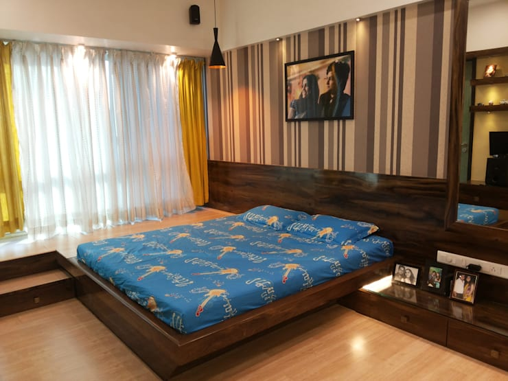 DB WOODS , GOREGAON:  Bedroom by J SQUARE - Architectural Studio