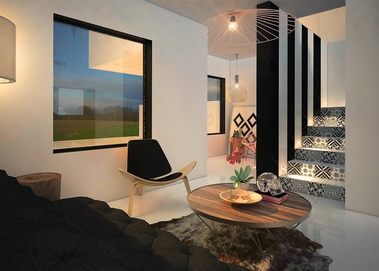 Casa Molina : Pasillos y recibidores de estilo  por Rotoarquitectura