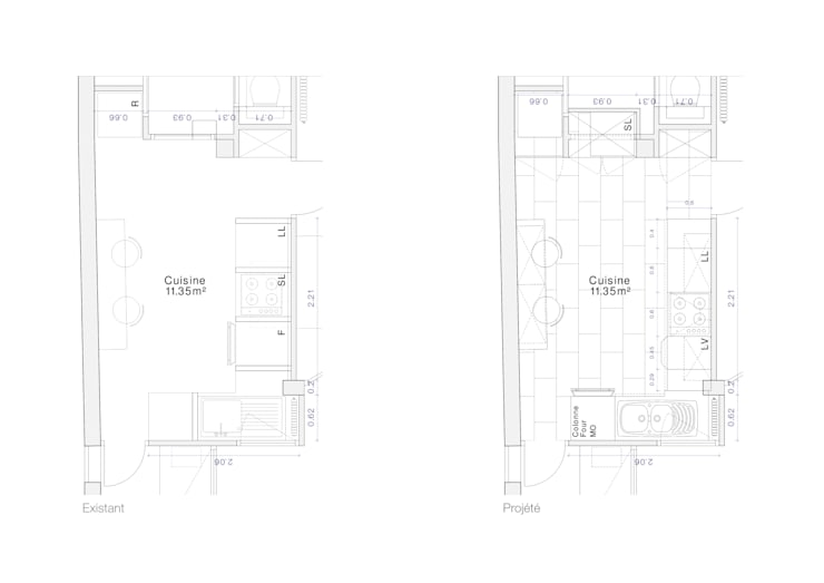 Plan Avant / Après:  de style  par Olivier Olindo Architecte