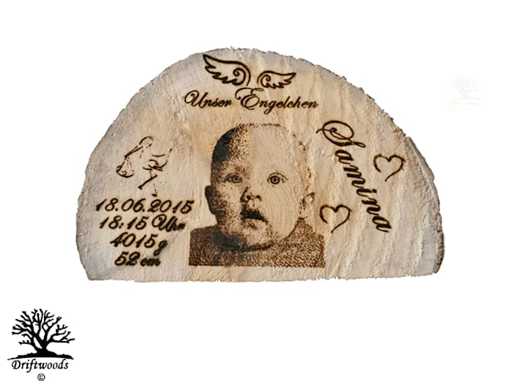 Personalisierte Geschenke   Fotogravur in Treibholz:  Haushalt von DRIFTWOODS