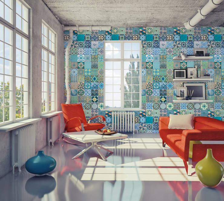Azulejo Português Coordenado Azul: Parede e piso  por OH Wallpaper