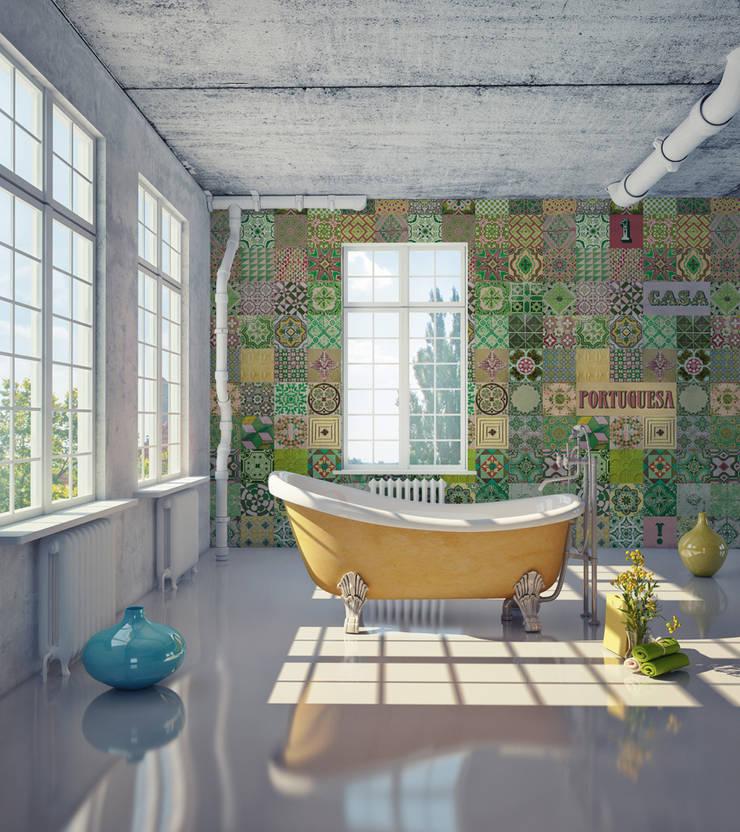 Azulejo Português Coordenado Verde: Parede e piso  por OH Wallpaper
