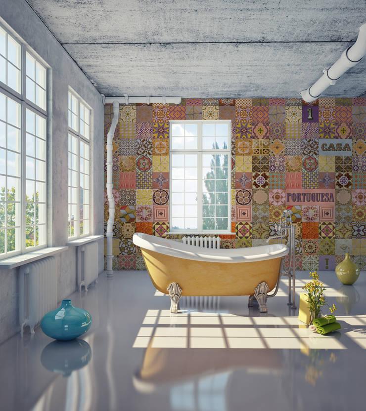 Azulejo Português Coordenado Laranja: Parede e piso  por OH Wallpaper