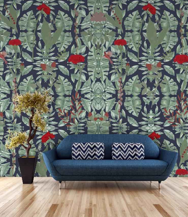 Cravo Azul Marinho: Parede e piso  por OH Wallpaper