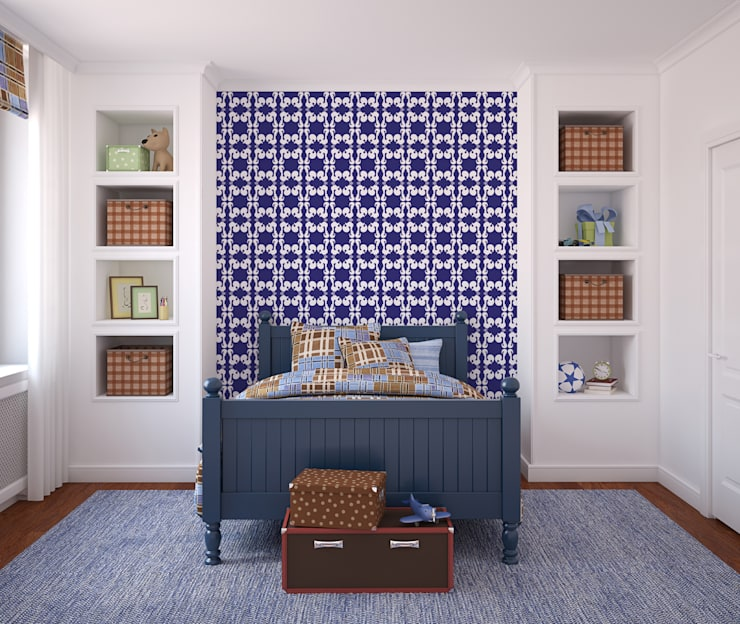 Galo Azul: Parede e piso  por OH Wallpaper