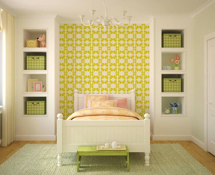 Galo Amarelo: Parede e piso  por OH Wallpaper