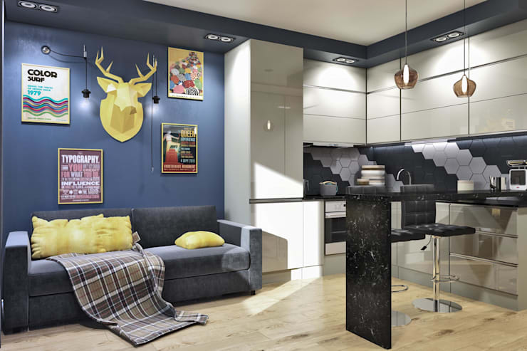 Вид на спальное место(диван) и кухню: Кухни в . Автор –  Pure Design