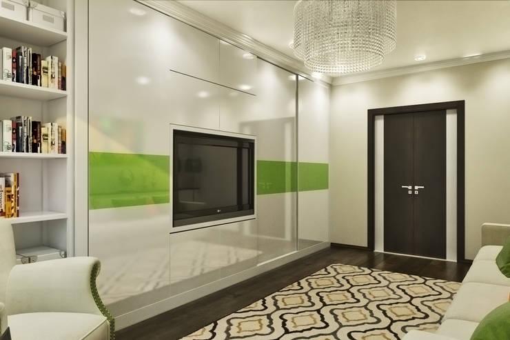 Вид на шкаф с встроенным ТВ: Гостиная в . Автор –  Pure Design