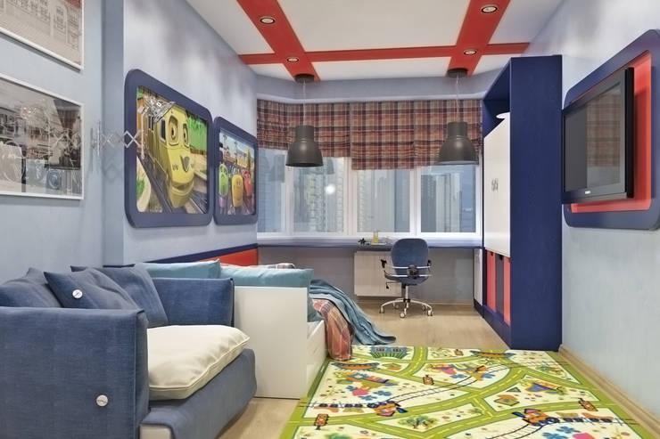Вид на окно и рабочее место: Детские комнаты в . Автор –  Pure Design